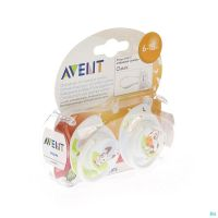 Avent Sucette Silicone 6-18m MoisAnimaux 2 Pièces