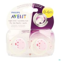 Avent Sucette Silicone 0-6 Mois Nuit Rose