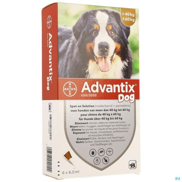 Advantix Dog Spot-on Sol Chien 40-60kg Pipettes 6x6ml