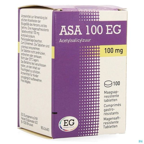 Asa 100 Eg 100mg Comp Gastroresist. 100 Pot