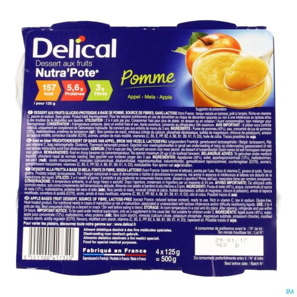Delical Nutra'pote Pomme 4x125 G