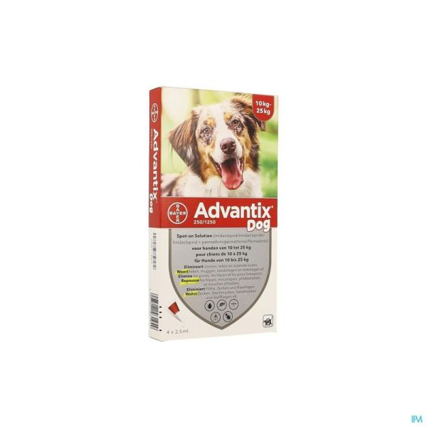 Advantix 250/1250 Chiens 10<25kg Fl 4x2,5ml