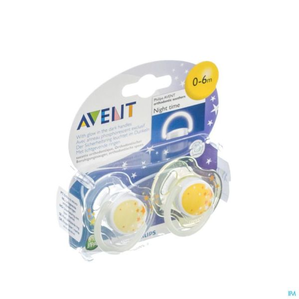 Avent Sucette Silicone 0-6 Mois Nuit